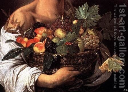 Boy with a Basket of Fruit (detail) c. 1593 by Caravaggio - Reproduction Oil Painting