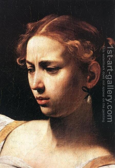 Judith Beheading Holofernes (detail 1) c. 1598 by Caravaggio - Reproduction Oil Painting