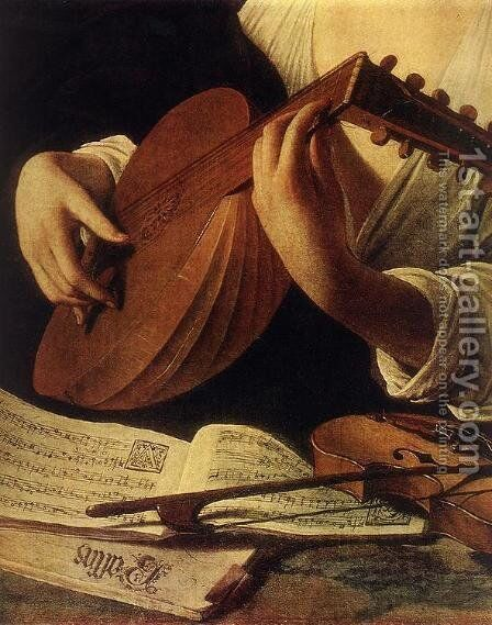 Lute Player (detail) c. 1596 by Caravaggio - Reproduction Oil Painting