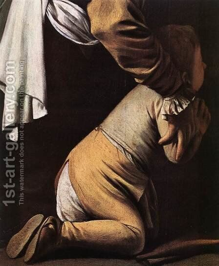 Madonna del Rosario (detail 1) 1607 by Caravaggio - Reproduction Oil Painting