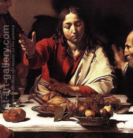 Supper at Emmaus (detail 1) 1601-02 by Caravaggio - Reproduction Oil Painting