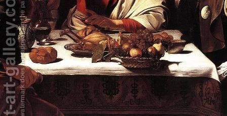 Supper at Emmaus (detail 2) 1601-02 by Caravaggio - Reproduction Oil Painting