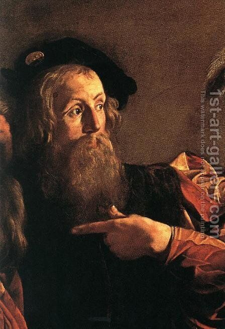 The Calling of Saint Matthew (detail 4) 1599-1600 by Caravaggio - Reproduction Oil Painting