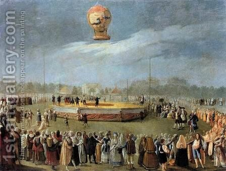 Ascent of the Balloon in the Presence of Charles IV and his Court c. 1783 by Antonio Carnicero Y Mancio - Reproduction Oil Painting
