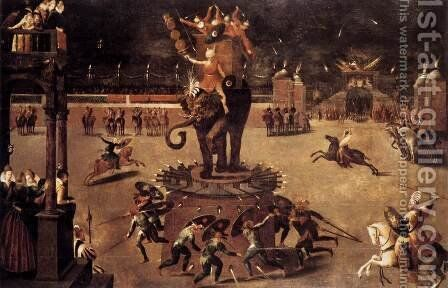 Merry-go-round with Elephant by Antoine Caron - Reproduction Oil Painting