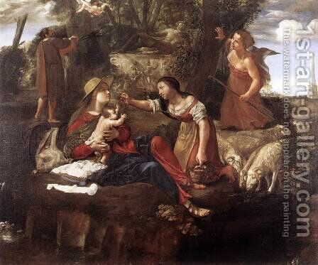 Rest on the Flight into Egypt 1630-45 by Angelo Caroselli - Reproduction Oil Painting