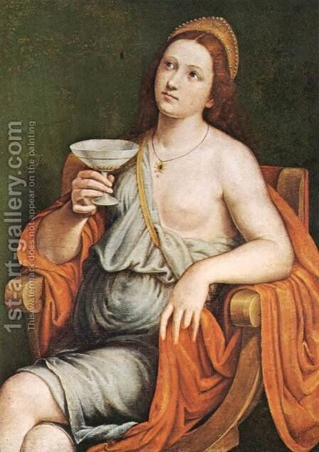 Sophonisba Drinking the Poison by Giovanni Francesco Caroto - Reproduction Oil Painting