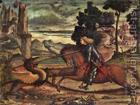 St George and the Dragon (detail) 1516 by Vittore Carpaccio - Reproduction Oil Painting