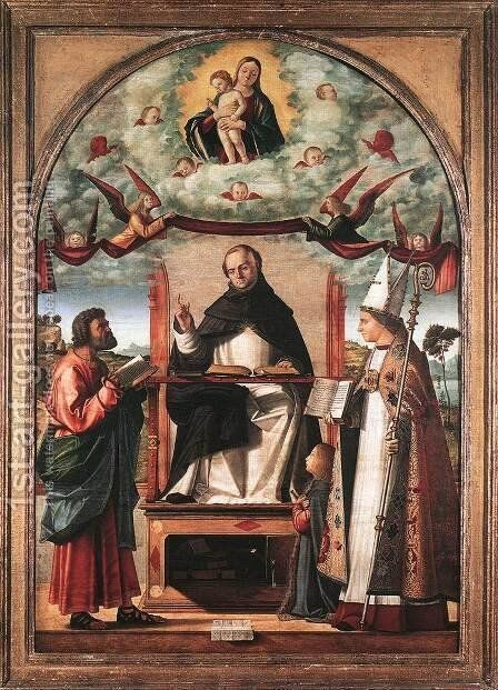 St Thomas in Glory between St Mark and St Louis of Toulouse 1507 by Vittore Carpaccio - Reproduction Oil Painting