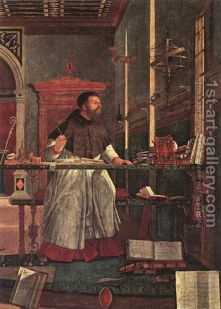 Vision of St Augustin (detail 1) 1502 by Vittore Carpaccio - Reproduction Oil Painting