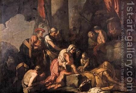 Liriope Bringing Narcissus before Tiresias 1660s by Giulio Carpioni - Reproduction Oil Painting