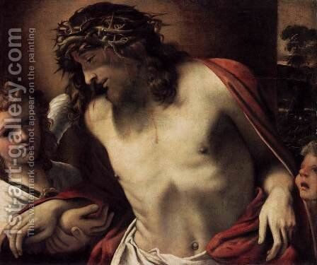 Christ Wearing the Crown of Thorns, Supported by Angels 1585-87 by Annibale Carracci - Reproduction Oil Painting