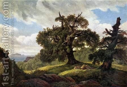 Oaks at the Sea Shore 1835 by Carl Gustav Carus - Reproduction Oil Painting