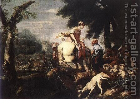 Meeting of Isaac and Rebecca by Giovanni Benedetto Castiglione - Reproduction Oil Painting