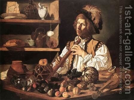 The Flute Player 1615-20 by Cecco Del Caravaggio - Reproduction Oil Painting
