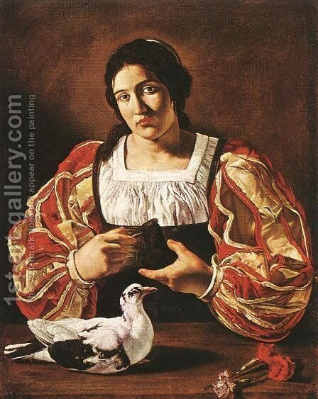 Woman with a Dove 1610s by Cecco Del Caravaggio - Reproduction Oil Painting
