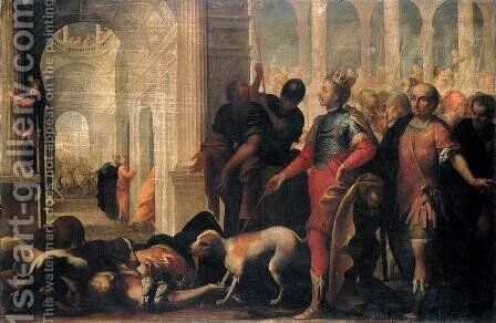 Queen Jezabel Being Punished by Jehu by Andrea Celesti - Reproduction Oil Painting