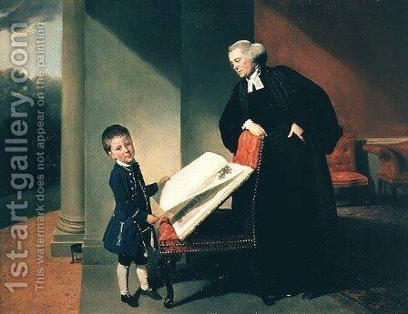 The Rev. Rendell Burroughs and son, Ellis by Johann Zoffany - Reproduction Oil Painting