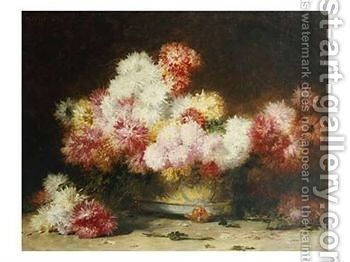 Chrysanthemum And Other Flowers In A Bowl by Achille Zo - Reproduction Oil Painting