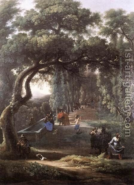 Figures in a Tree-lined Avenue 1640s by Michelangelo Cerquozzi - Reproduction Oil Painting