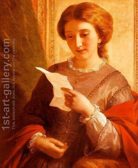 Girl Reading a Letter by Alfred-Edward Chalon - Reproduction Oil Painting