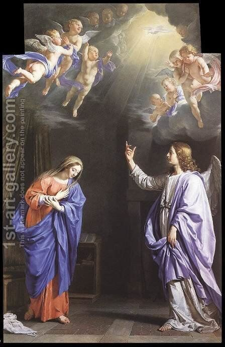 The Annunciation c. 1645 by Philippe de Champaigne - Reproduction Oil Painting