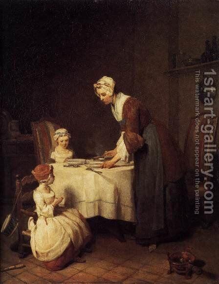 The Prayer before Meal before 1740 by Jean-Baptiste-Simeon Chardin - Reproduction Oil Painting