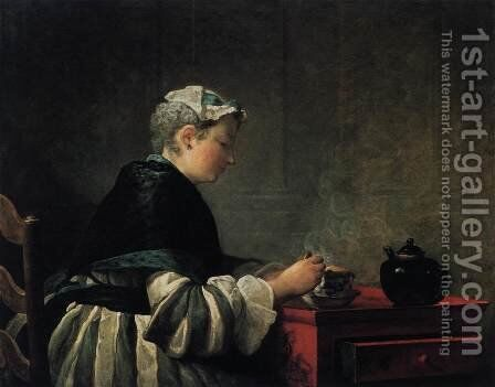 Woman Taking Tea 1735 by Jean-Baptiste-Simeon Chardin - Reproduction Oil Painting