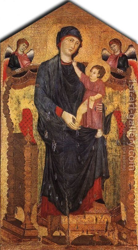 Madonna Enthroned with the Child and Two Angels by (Cenni Di Peppi) Cimabue - Reproduction Oil Painting