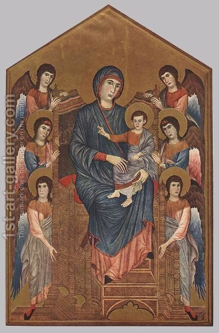 Virgin Enthroned with Angels 1290-95 by (Cenni Di Peppi) Cimabue - Reproduction Oil Painting