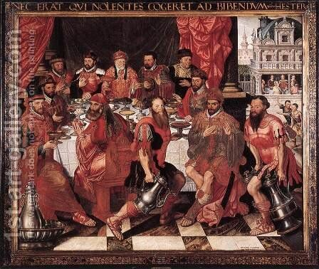Banquet 1574 by Antoon Claeissens - Reproduction Oil Painting