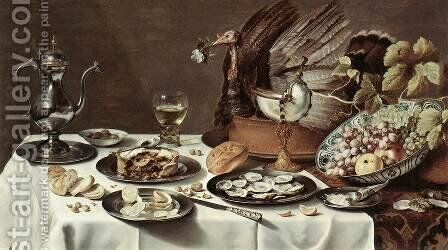 Still-life with Turkey-Pie by Pieter Claesz. - Reproduction Oil Painting