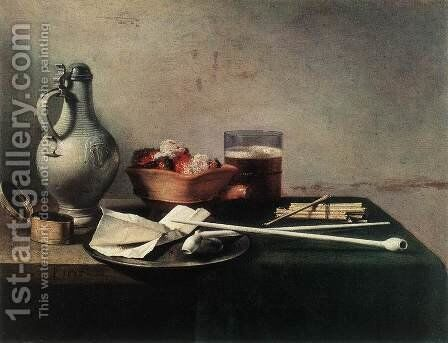 Tobacco Pipes and a Brazier 1636 by Pieter Claesz. - Reproduction Oil Painting