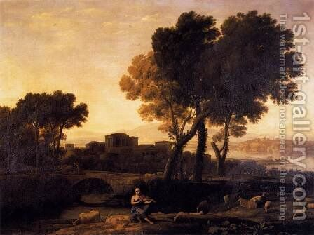 Apollo Guarding the Herds of Admetus 1654 by Claude Lorrain (Gellee) - Reproduction Oil Painting