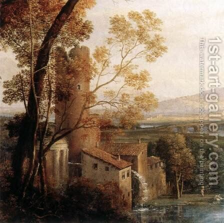Landscape with Dancing Figures (detail) 1648 by Claude Lorrain (Gellee) - Reproduction Oil Painting