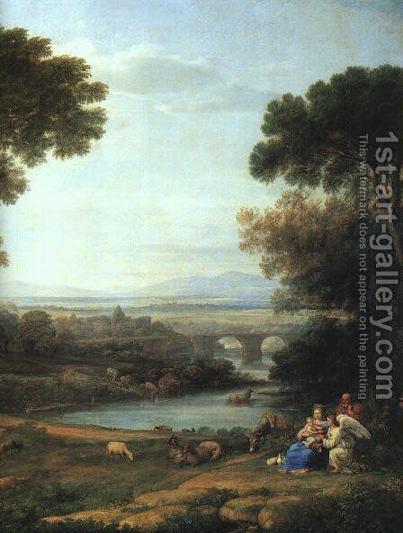 Landscape with the Rest on the Flight into Egypt (detail) 1666 by Claude Lorrain (Gellee) - Reproduction Oil Painting