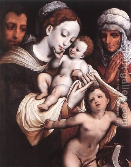 Holy Family by Cornelis van Cleve - Reproduction Oil Painting