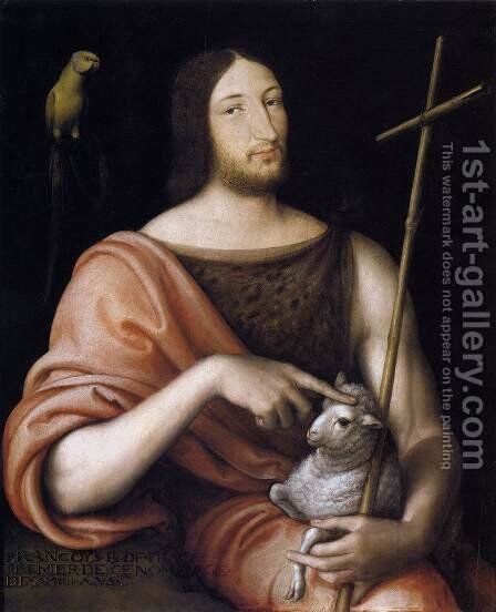 Portrait of Francois I as St John the Baptist 1518 by Jean Clouet - Reproduction Oil Painting