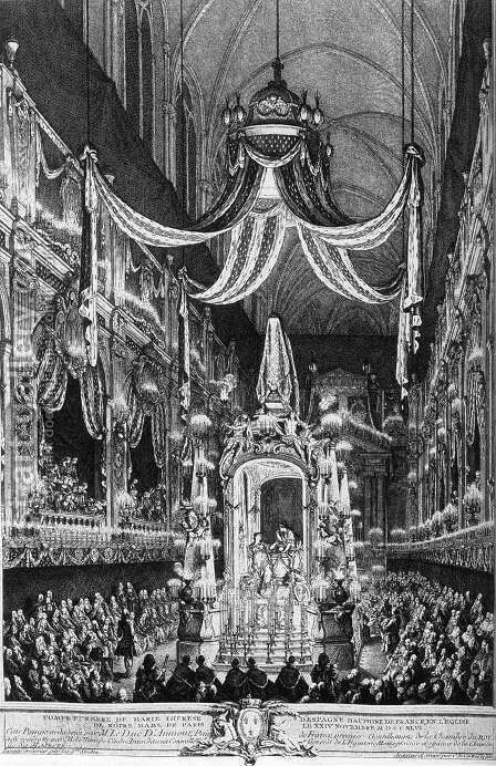 Funeral Pomp of the Dauphine, Marie-Therese of Spain 1746 by Charles-Nicolas II Cochin - Reproduction Oil Painting