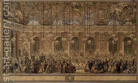 The Masked Ball Given by the King 1745 by Charles-Nicolas II Cochin - Reproduction Oil Painting