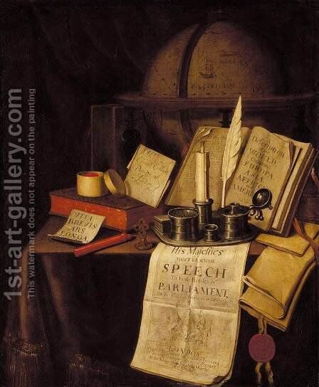 Vanitas Still-Life 1697 by Edwart Collier - Reproduction Oil Painting