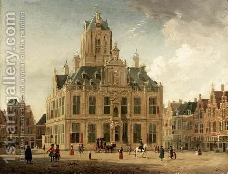 Delft: A View of the Town Hall Seen from the Grote Markt 1745-55 by Jan ten Compe - Reproduction Oil Painting