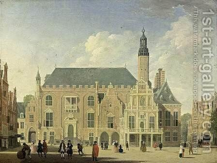 Haarlem: View of the Town Hall by Jan ten Compe - Reproduction Oil Painting