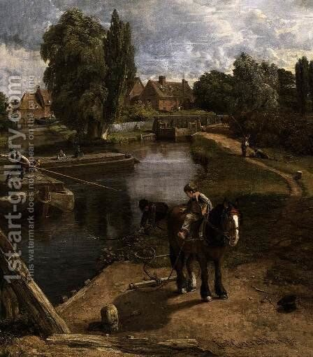 Flatford Mill (detail) 1817 by John Constable - Reproduction Oil Painting