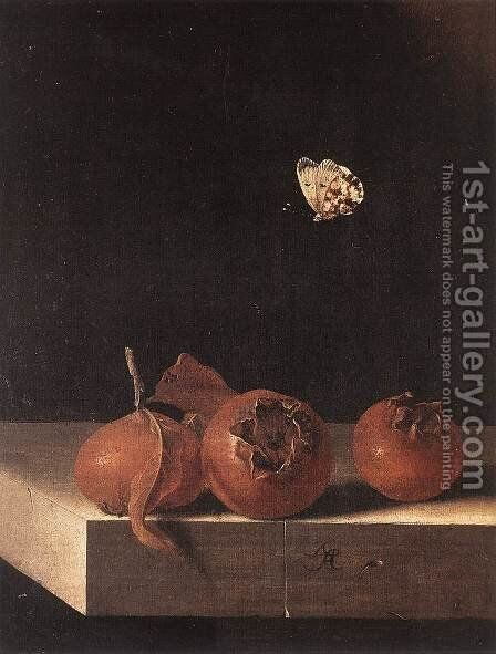 Three Medlars with a Butterfly c. 1705 by Adriaen Coorte - Reproduction Oil Painting