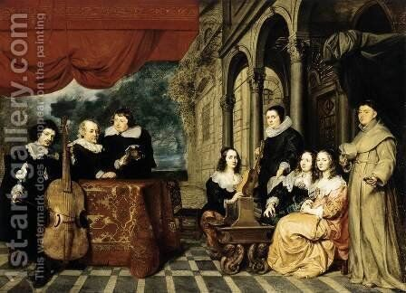 Family Portrait 1650s by Gonzales Coques - Reproduction Oil Painting