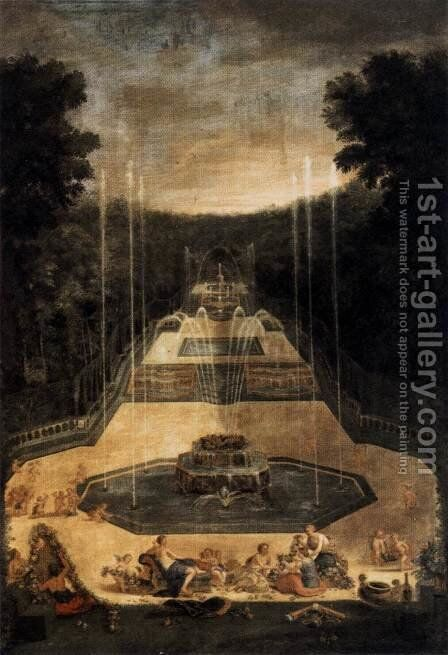 View of the Three-Fountain Grove (2) 1688-90 by Jean II Cotelle - Reproduction Oil Painting
