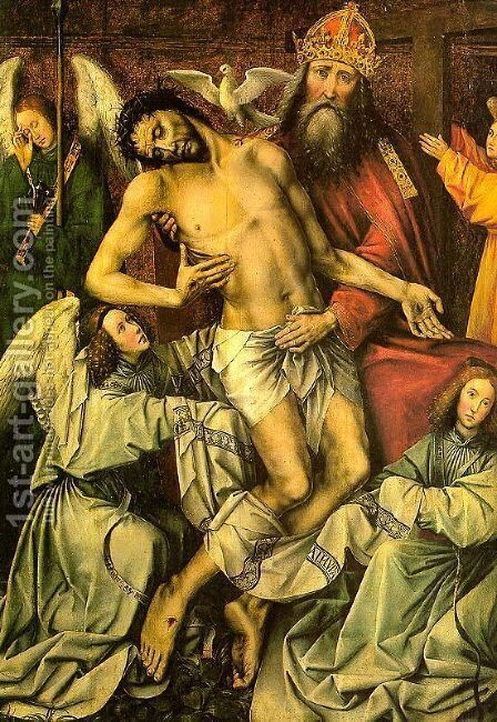 The Trinity & the Dead Christ Supported by Angels, (central panel of the Throne of Grace triptych,) by Colijn de Coter - Reproduction Oil Painting