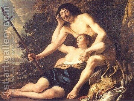 Venus and Adonis 1645 by Christiaen van Couwenbergh - Reproduction Oil Painting