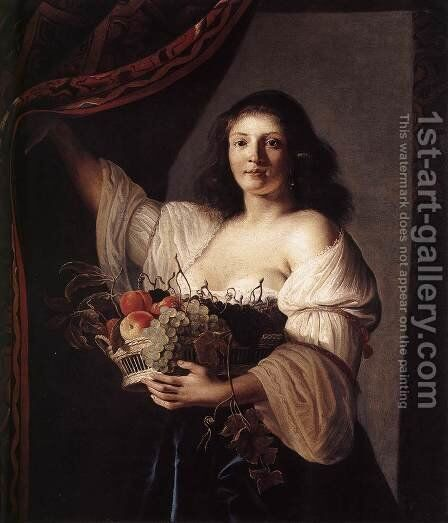 Woman with a Basket of Fruit 1642 by Christiaen van Couwenbergh - Reproduction Oil Painting
